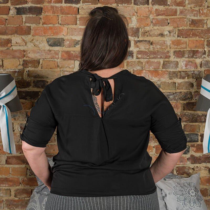 Czarna Bluzka damska COLOMBA Kimono Plus Size