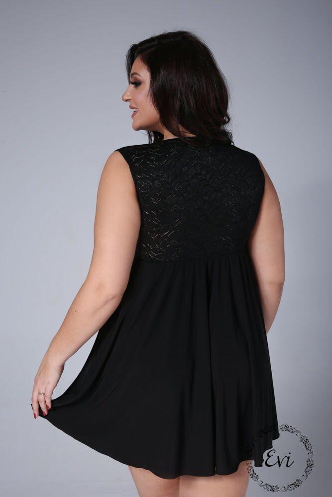 Czarna Koszulka Nocna LUCCIA Plus Size