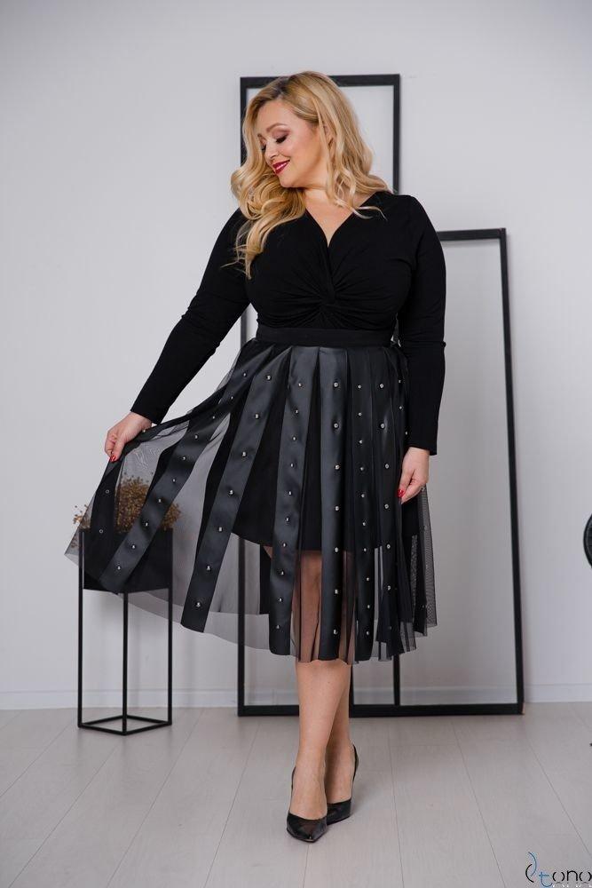 Czarna Spódnica ROMMA Plus Size