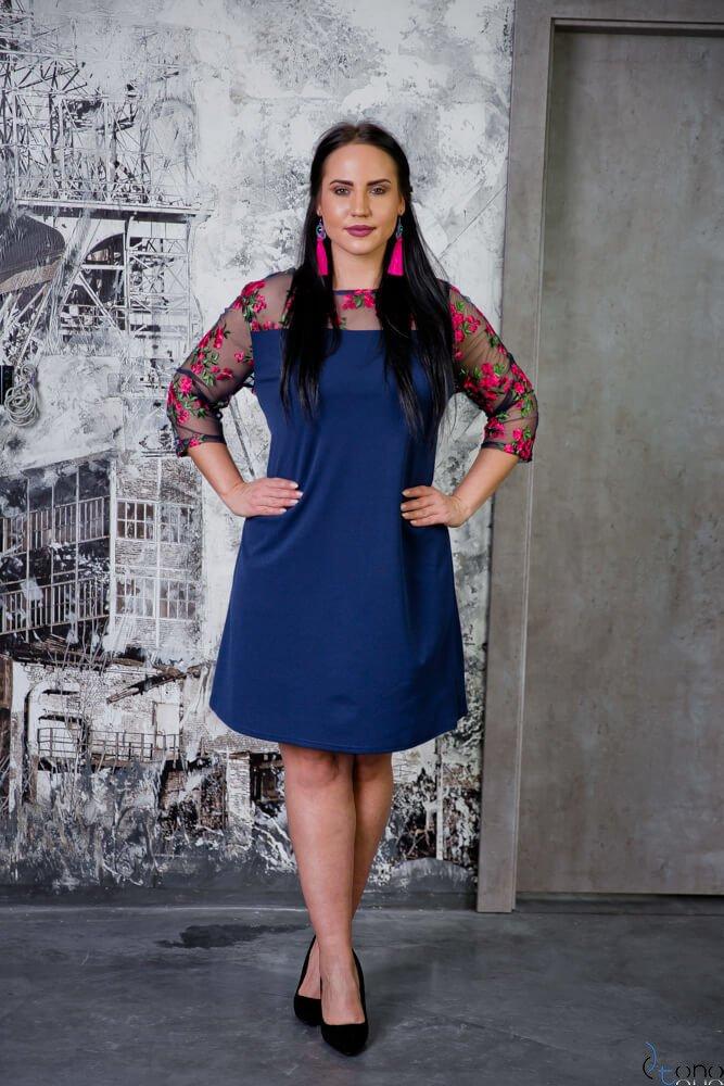 Granatowa Sukienka EDITH Haftowana Tiul Elegancka