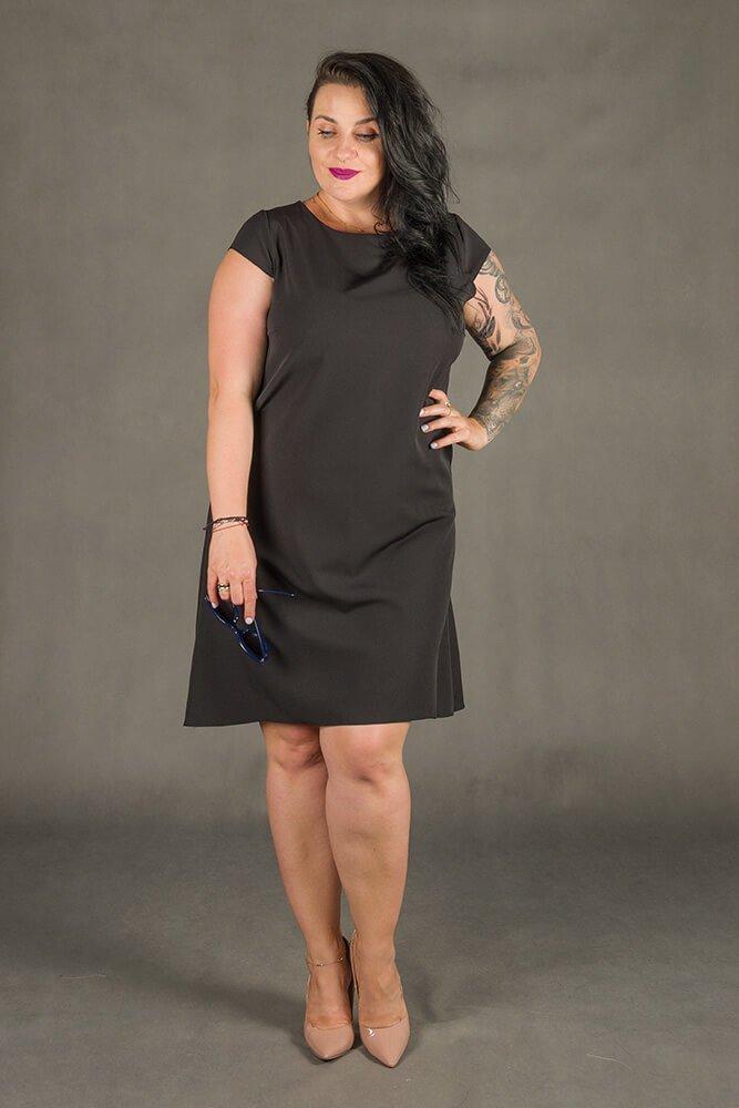 Czarna Sukienka FINESTRA Rozkloszowana Plus Size