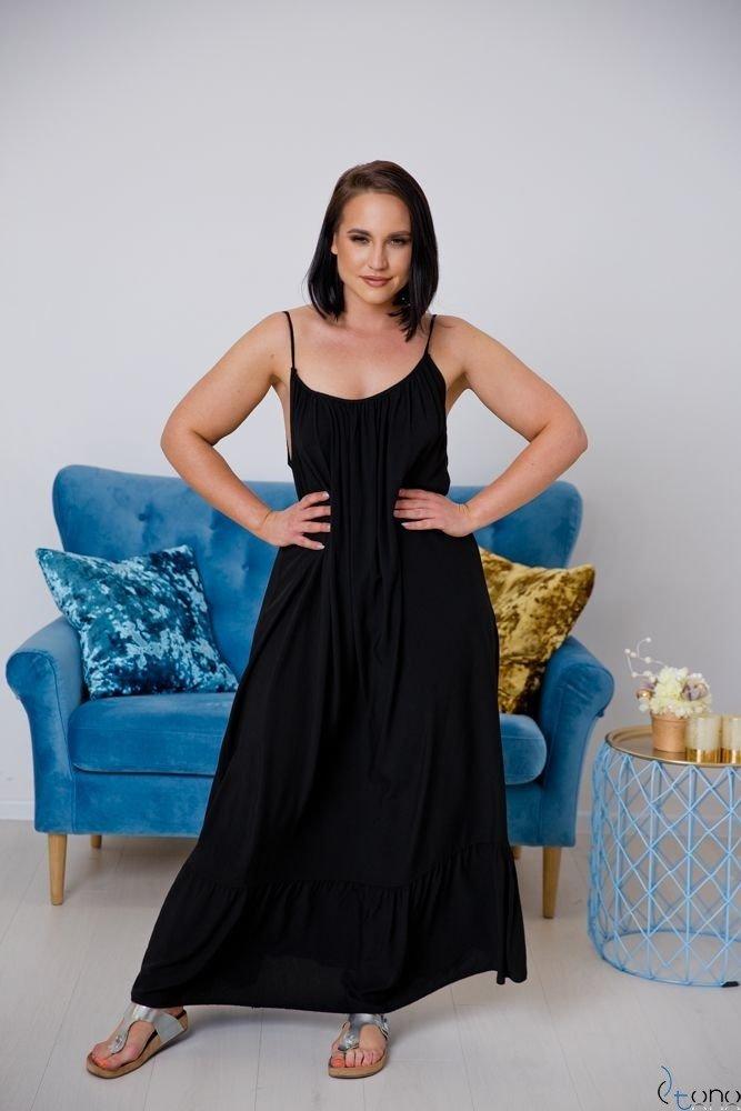 Czarna Sukienka LAMIRA Plus Size Maxi