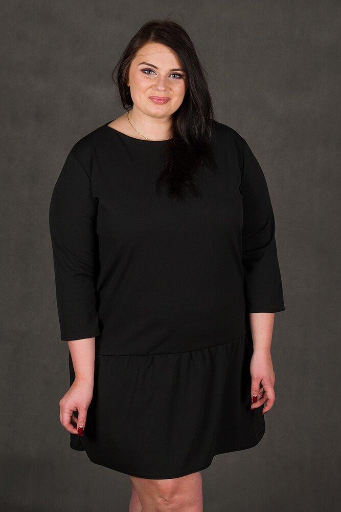 Czarna Sukienka MARCELA Falbanka Duże rozmiary