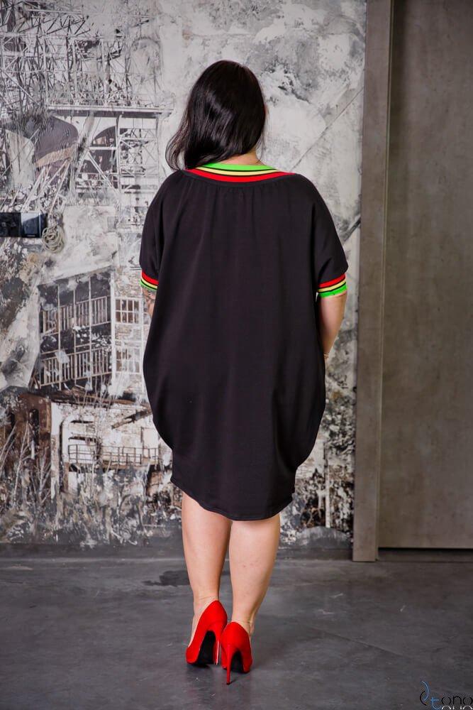 Czarna Sukienka SEPPI Plus Size Wzór 2