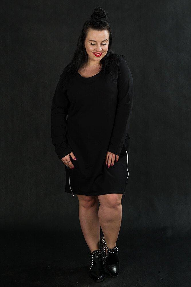 Czarna Tunika EMMA Plus Size Zamki