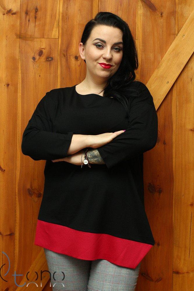 Czarna bluzka damska DANICA Designerska Skos Plus Size