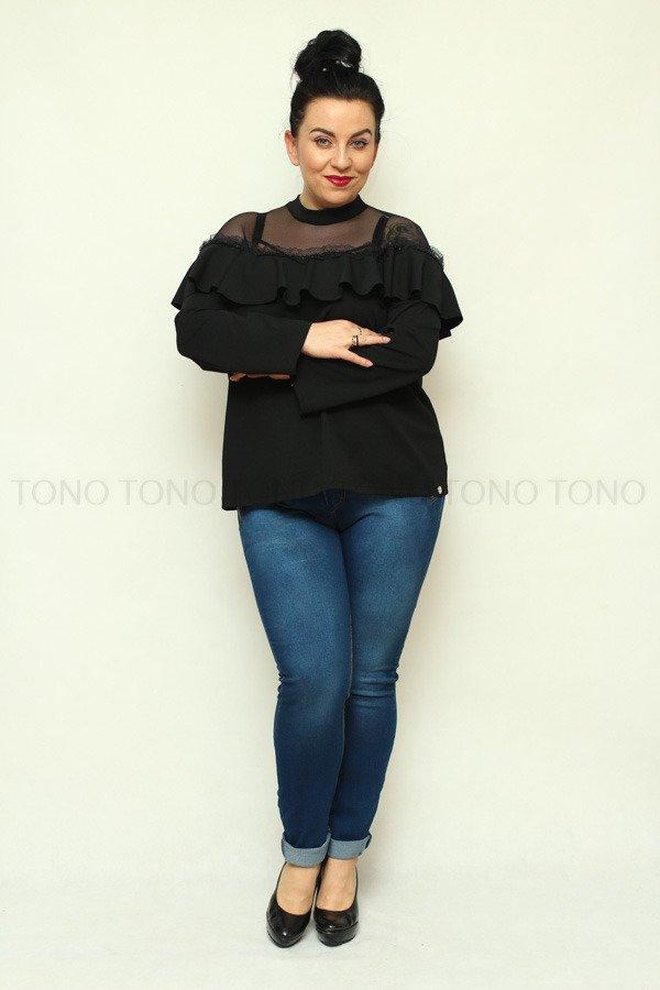 Czarna bluzka damska PALOMAS hiszpanka tiul plus size