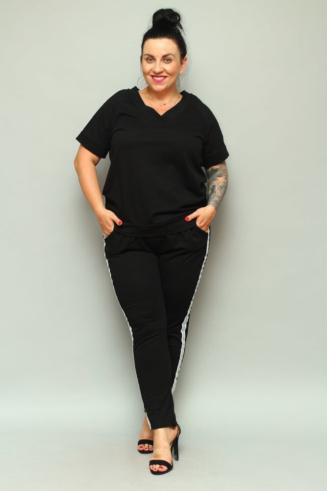 Czarne Spodnie ASTRA Dresowe Plus Size