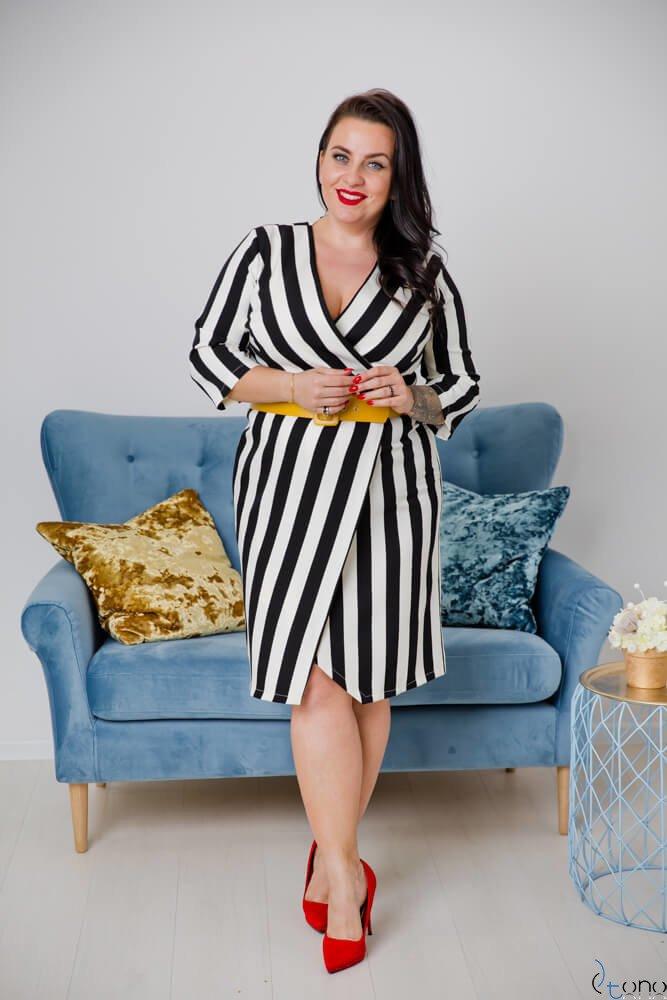 Czarno-Biała Sukienka AMPARO Plus Size