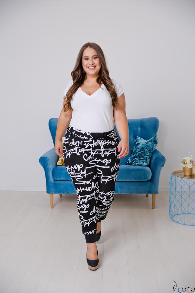 Czarno-Białe Spodnie REGGIE Plus Size Ściągacz