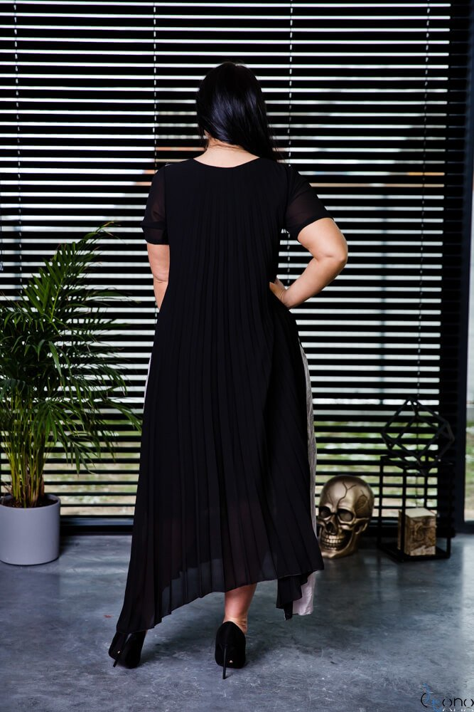 Czarno-Srebrna Sukienka CORSA Plus Size Plisowana