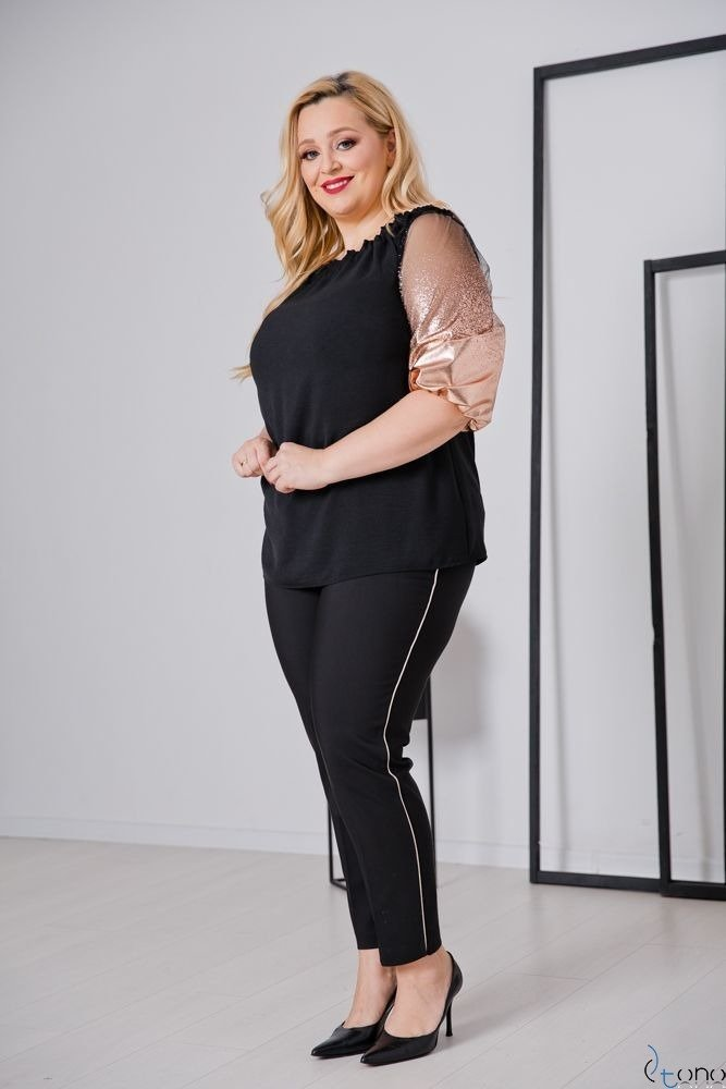 Czarno-Złota Bluzka LAURES Plus Size