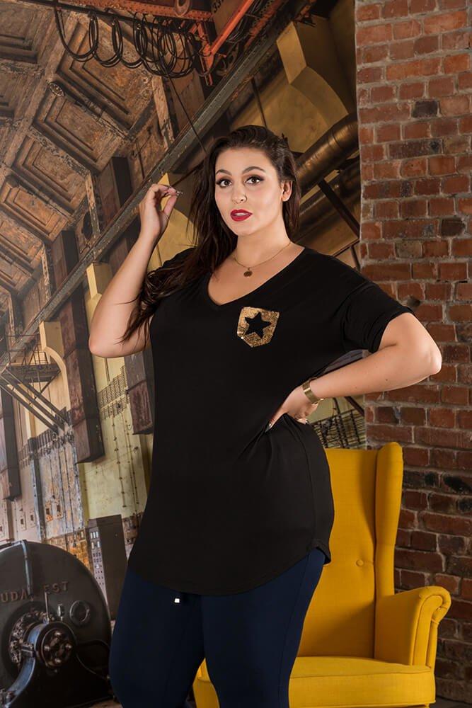 Czarny Bluzka MAGIC T-shirt Plus Size