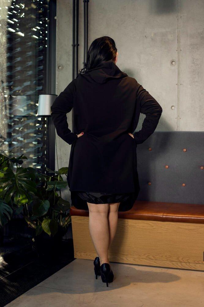 Czarny Kardigan VENETO Bawełna Plus Size