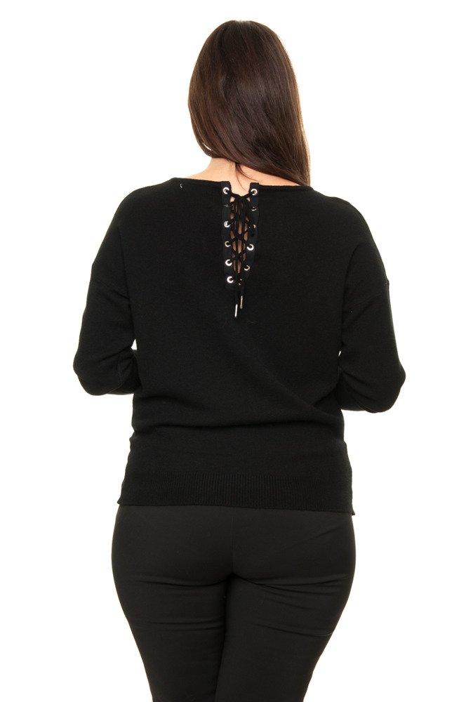 Czarny Sweter DRACO Wiązany Zmysłowy Designerski XXL