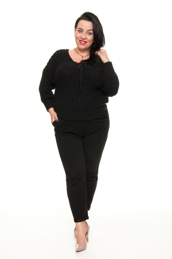 Czarny Sweter FILO Oversize Ciepły Dekolt duże rozmiary