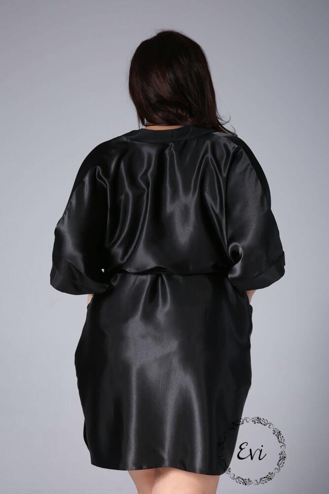 Czarny Szlafrok AMY Satynowy Plus Size