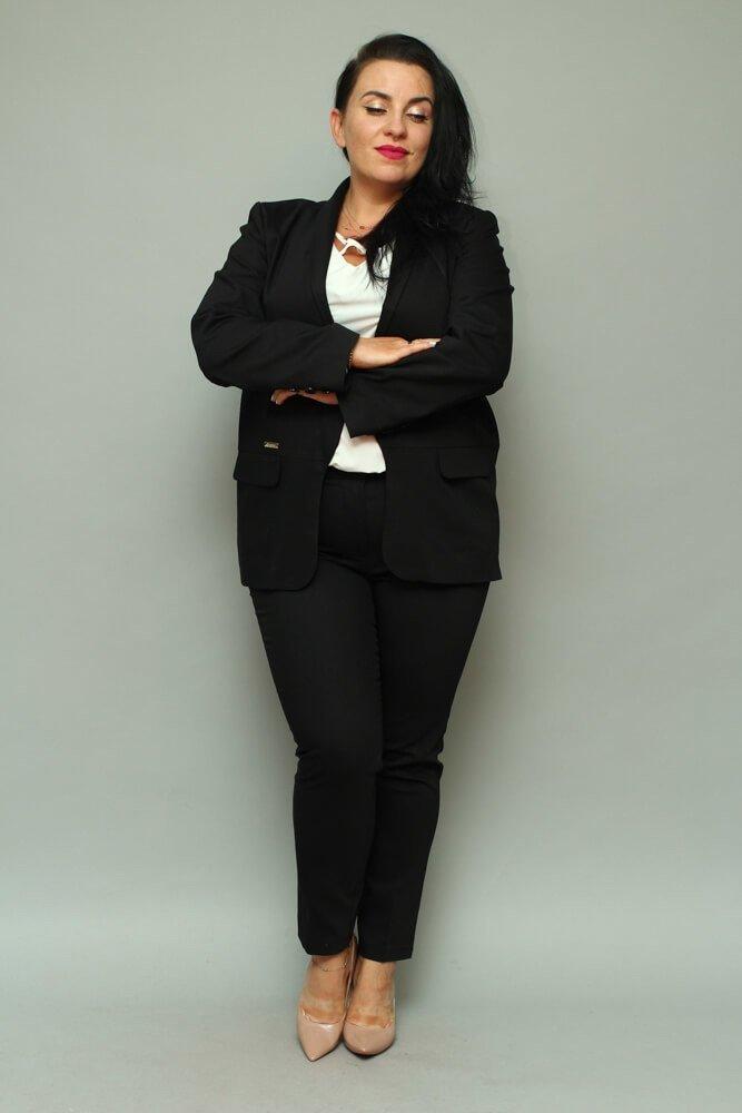 Czarny komplet Żakiet damski + spodnie VOLTENO Plus Size