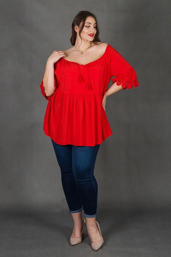Czerwona Bluzka CENOBIA Koronka Plus Size