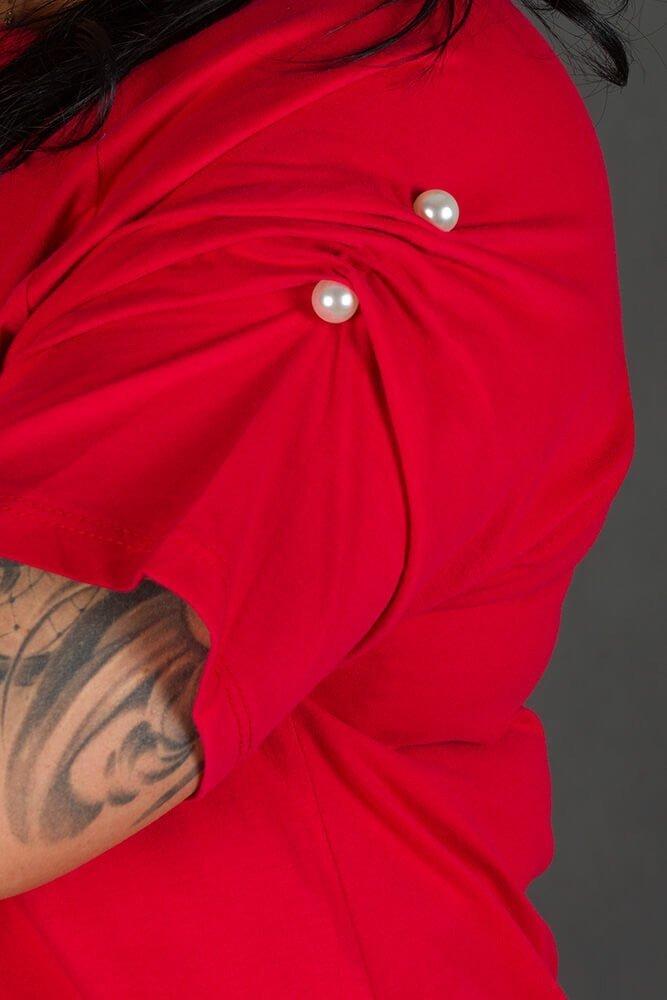 Czerwona Bluzka GIANA Trapezowa Plus Size