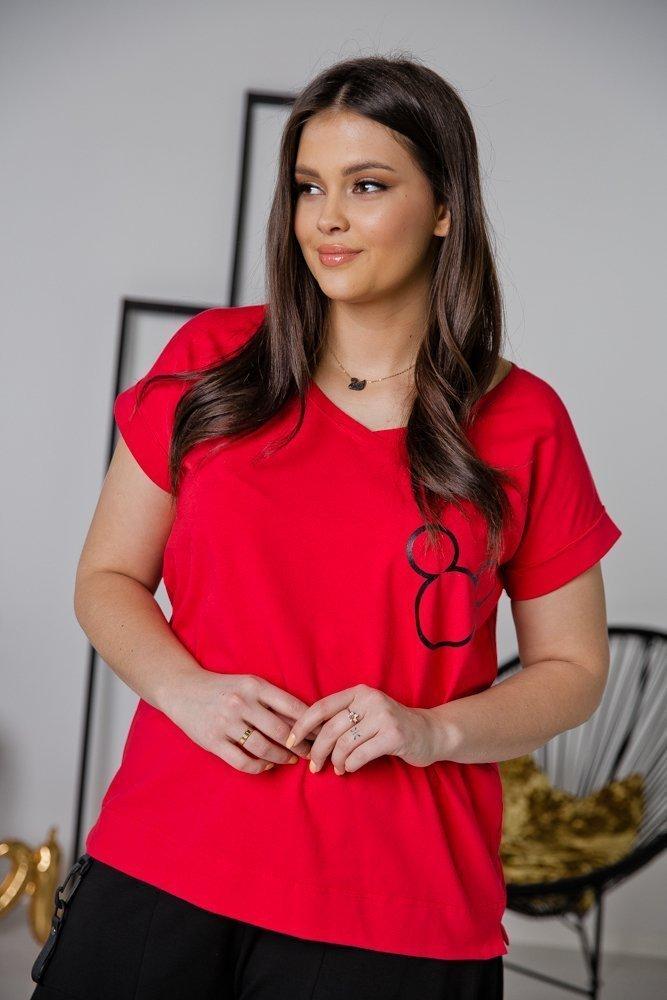Czerwona Bluzka MIKI Plus Size