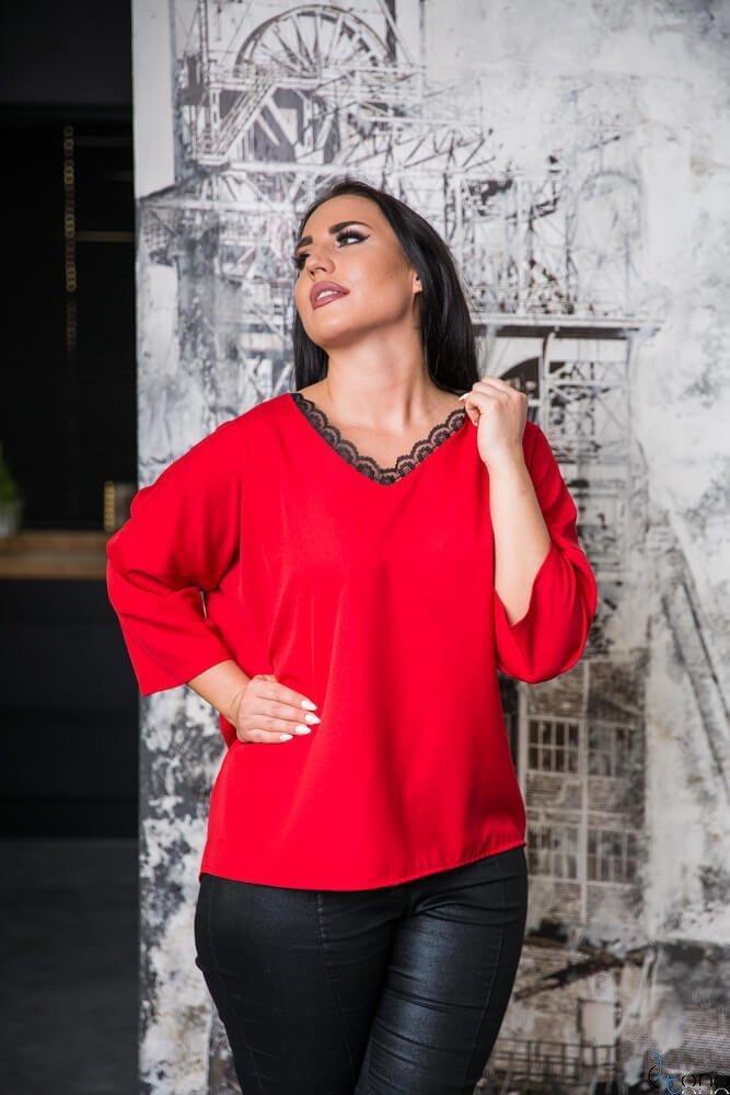 Czerwona Bluzka STEPHI Plus Size