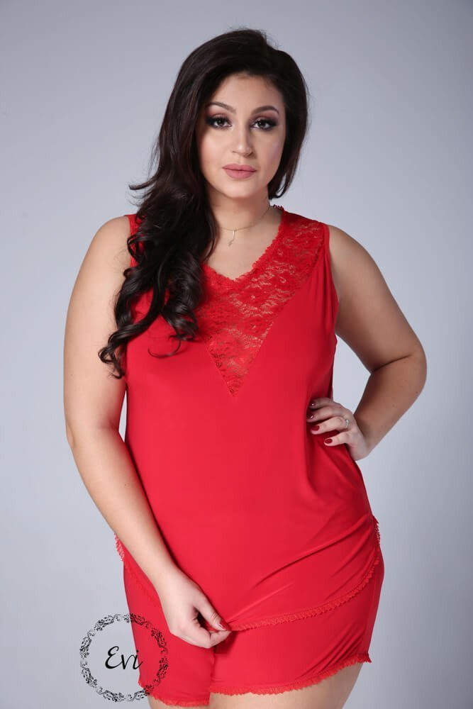 Czerwona Piżamka EMMA Plus Size