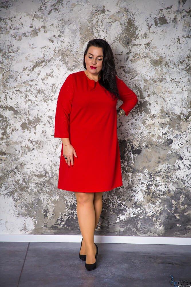 Czerwona Sukienka BREJDY Plus Size