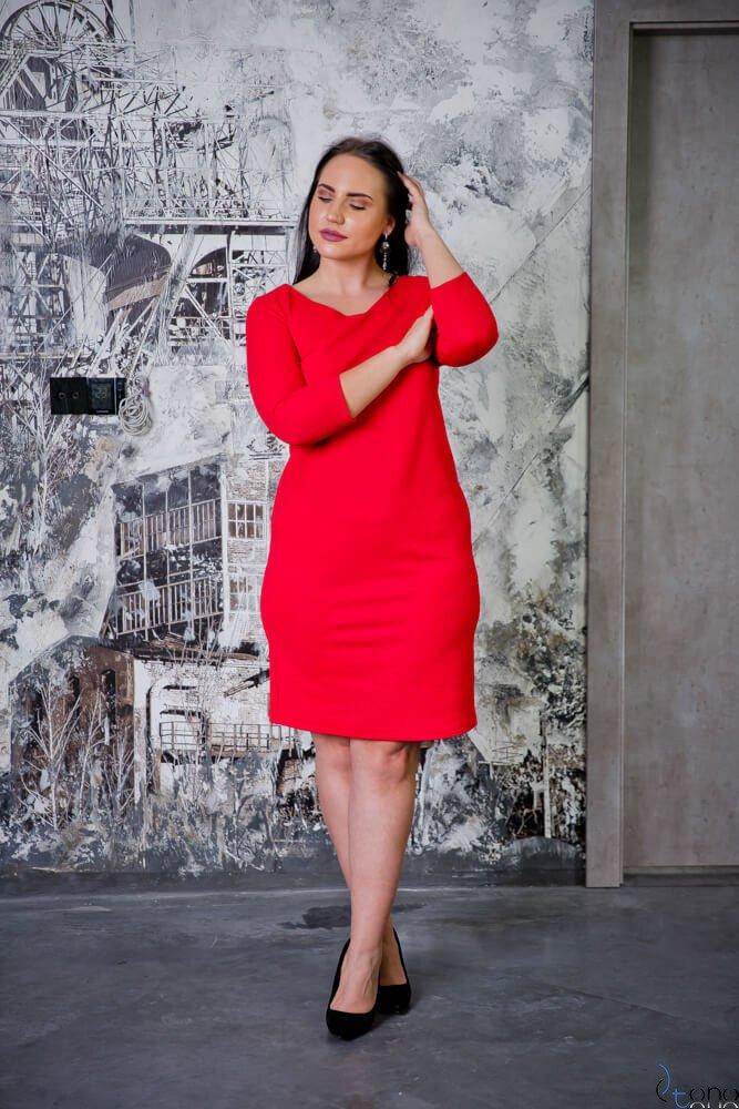 Czerwona Sukienka CLAUDIA Plus Size