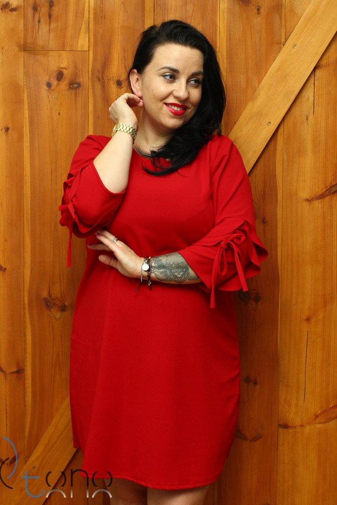 Czerwona Sukienka LARNAKA Modna Unikalny Rękaw Plus Size