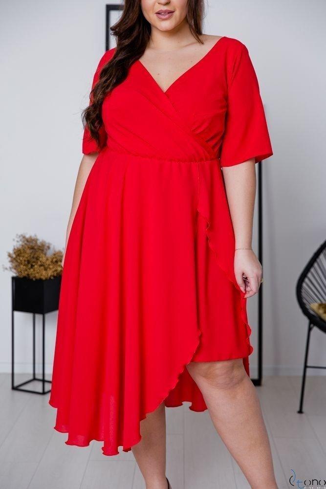 Czerwona Sukienka LIREN Plus Size