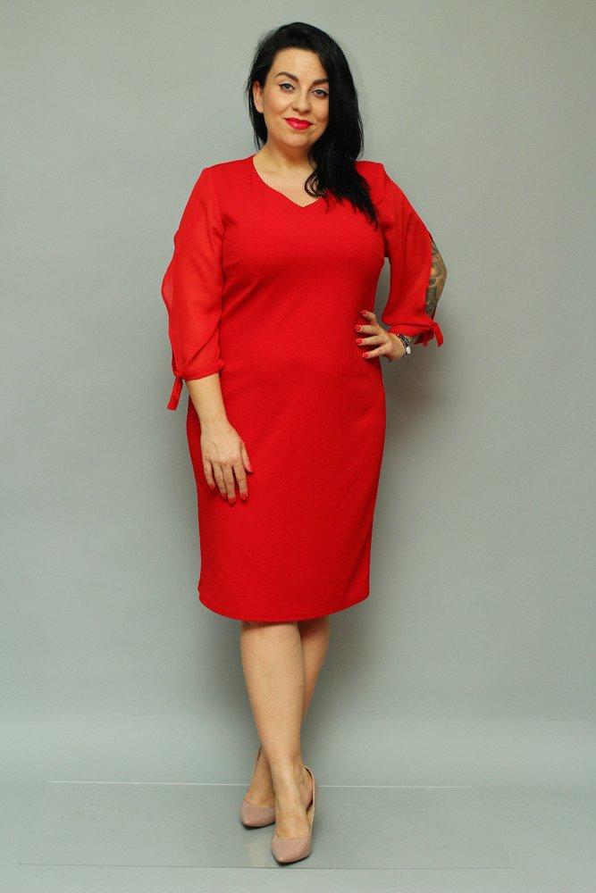 Czerwona Sukienka RETRA Elegancka Ołówkowa