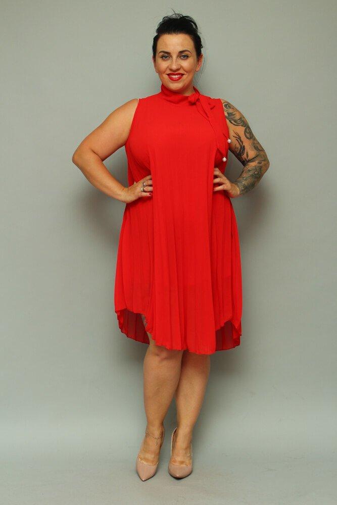 Czerwona Sukienka RINA Plus Size Plisowana