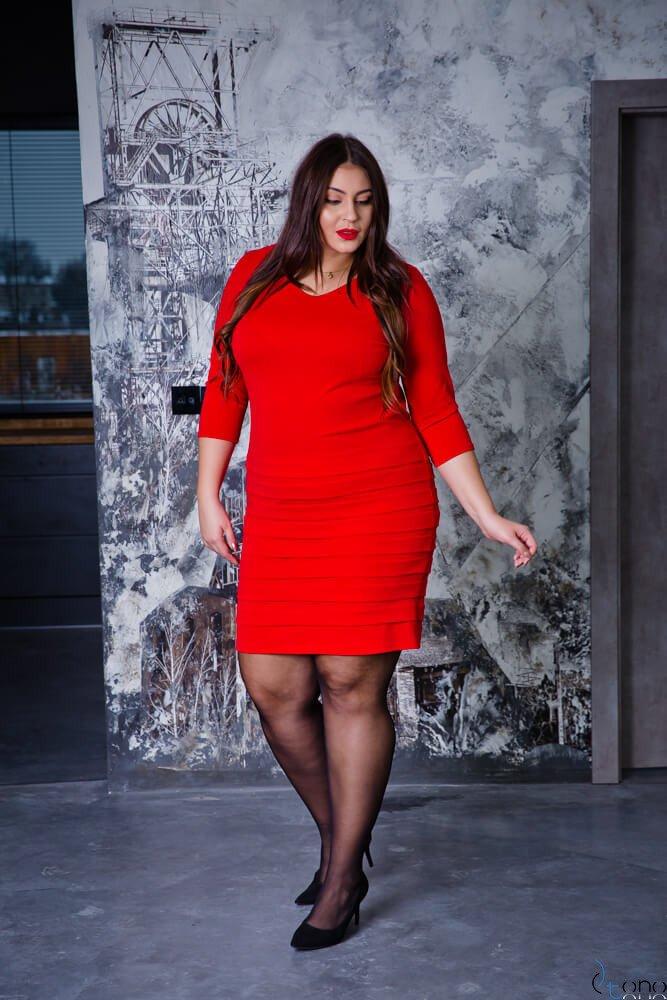 Czerwona Sukienka SOMBER Plus Size