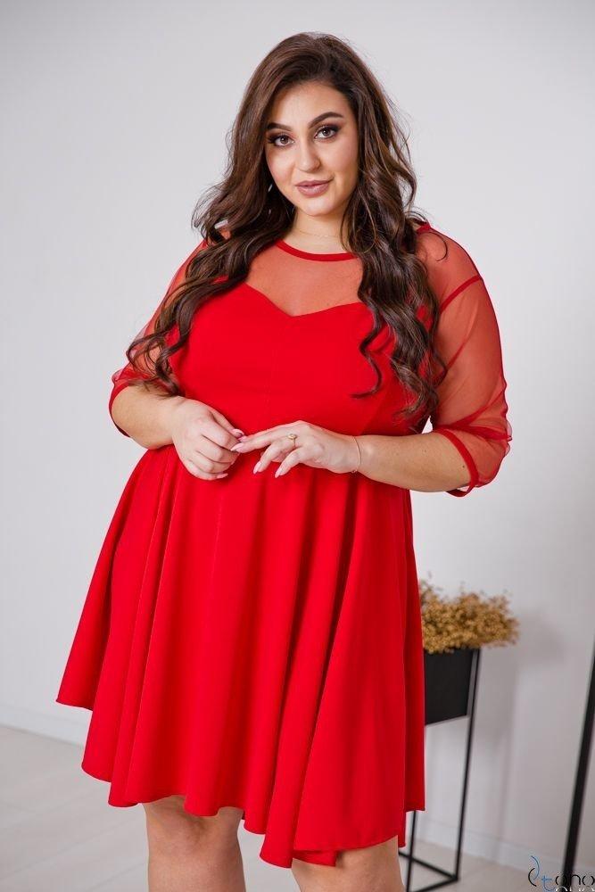 Czerwona Sukienka VELOSIA Plus Size