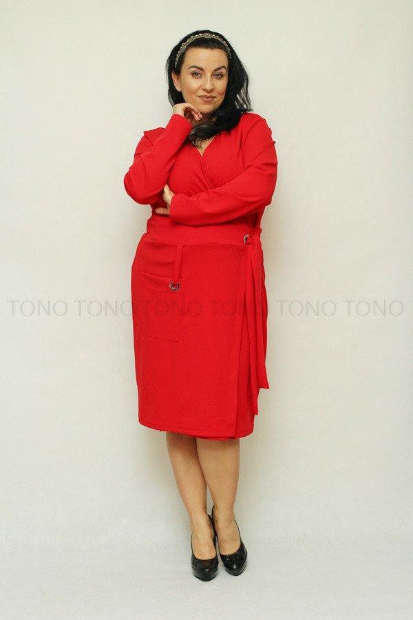 Czerwona sukienka damska KIMBERLY kopertowa Size Plus