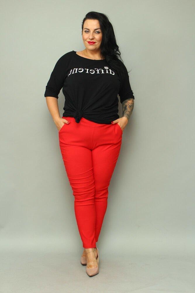 Czerwone Spodnie damskie AZURO Plus Size