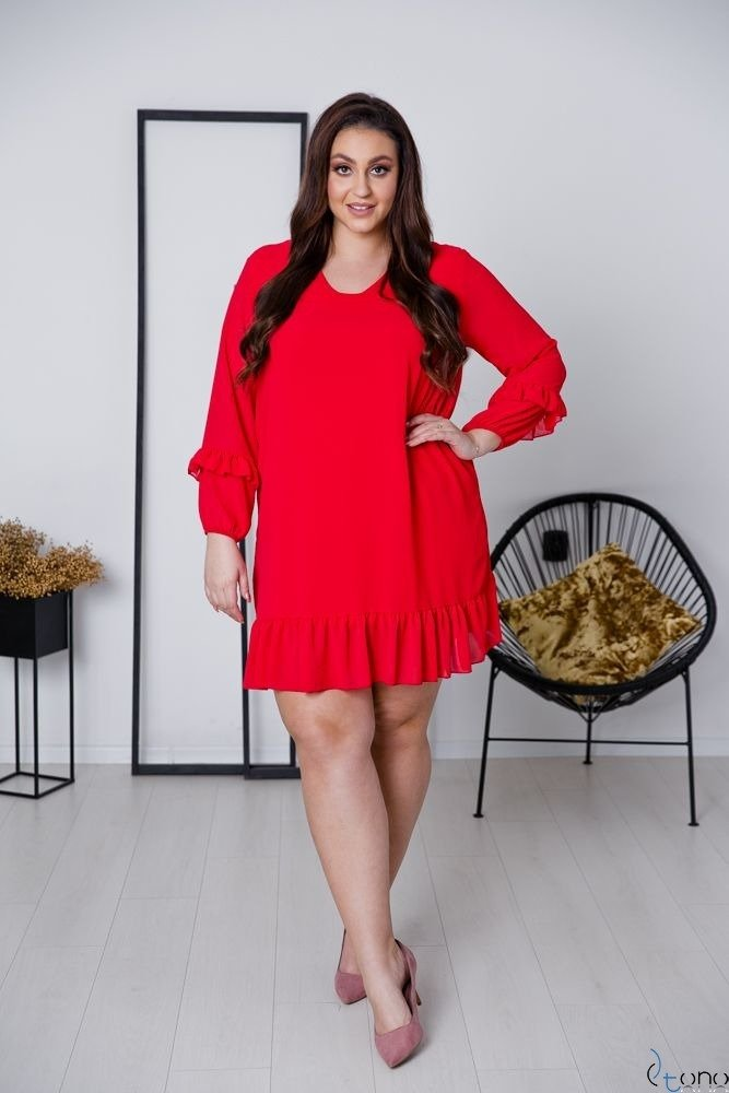 Czerwone Sukienka CORTLAND Plus Size