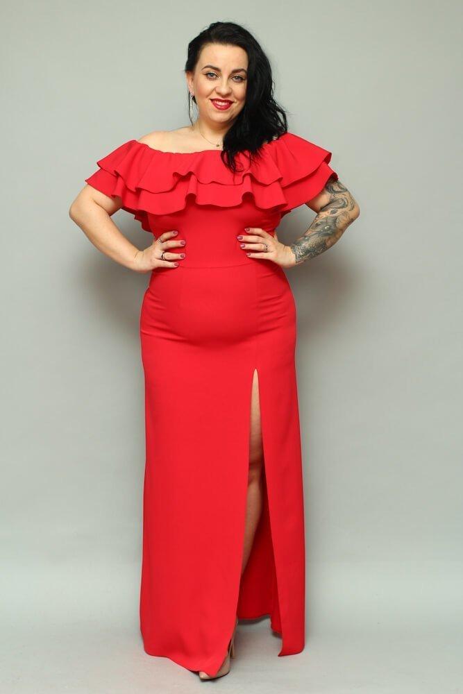 Długa czerwona sukienka LEIDA Hiszpanka