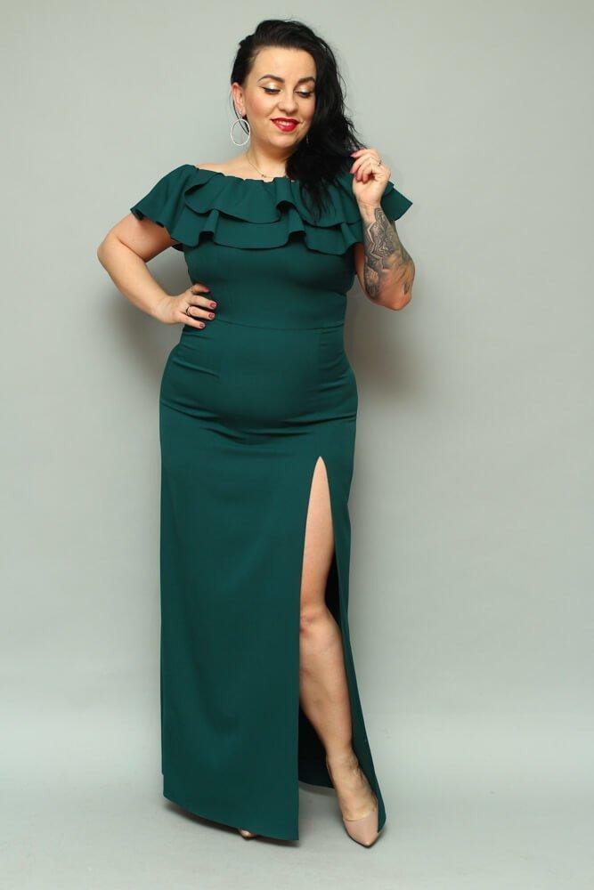 Długa zielona sukienka LEIDA Hiszpanka