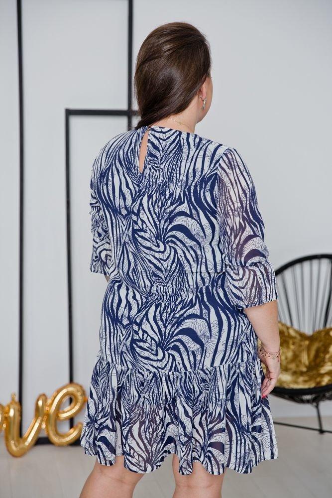 Fioletowo-biała Sukienka ESTI Plus Size Wzór 6