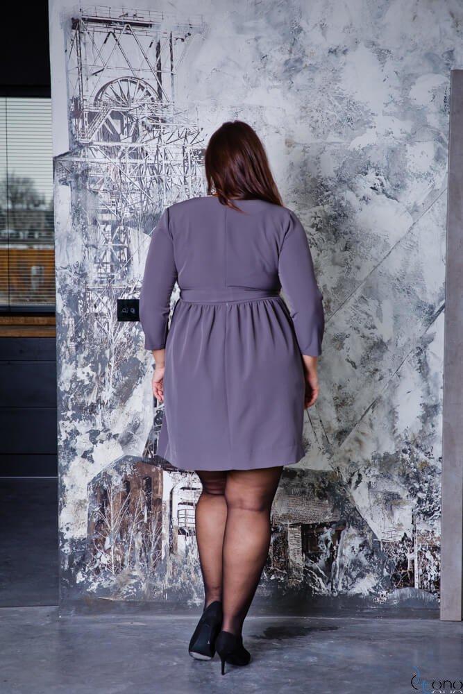 Grafitowa Sukienka MAKAN Kopertowa Plus Size
