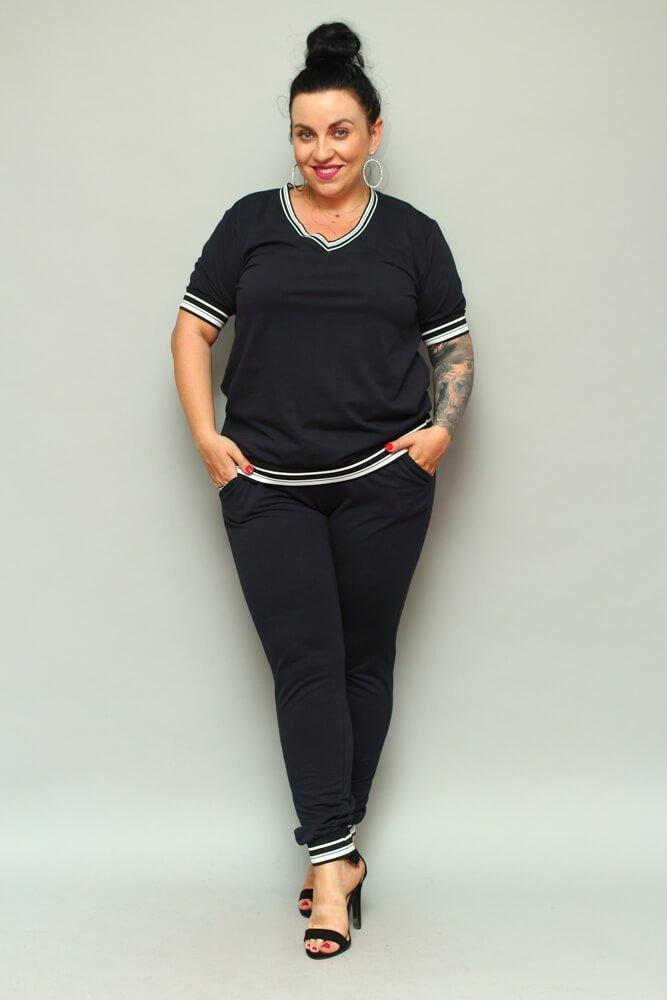 Granatowa Bluza NILDA Plus Size Dresowa