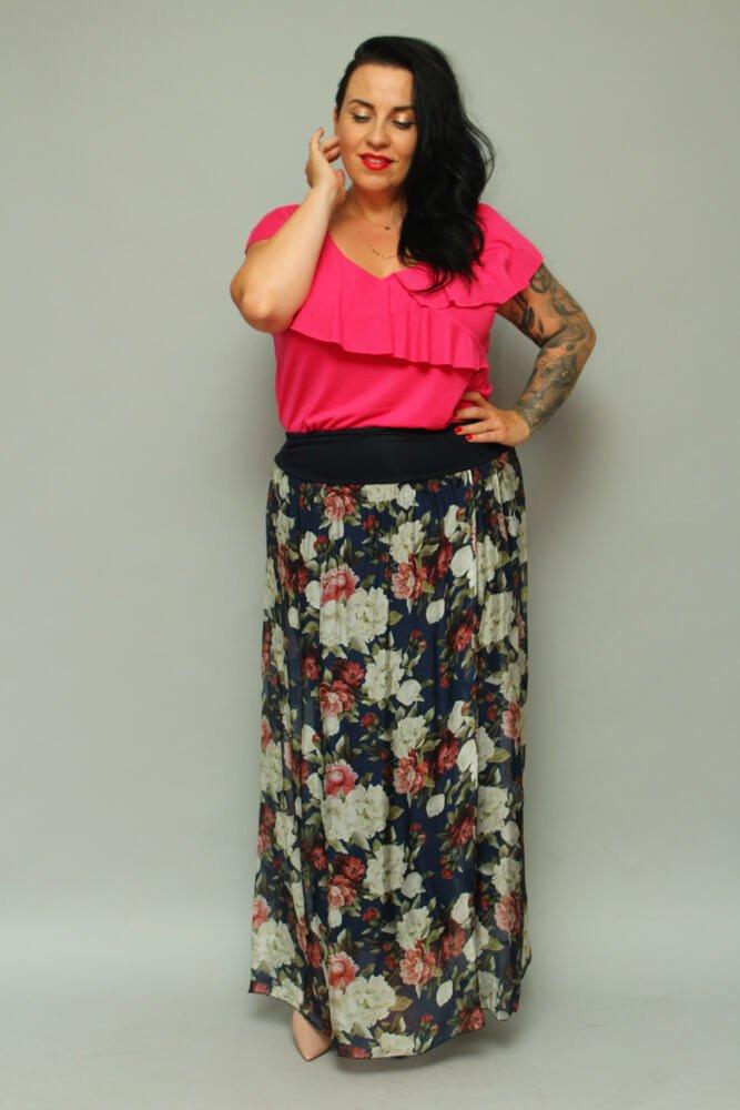 Granatowa Spódnica LUPO Plus Size