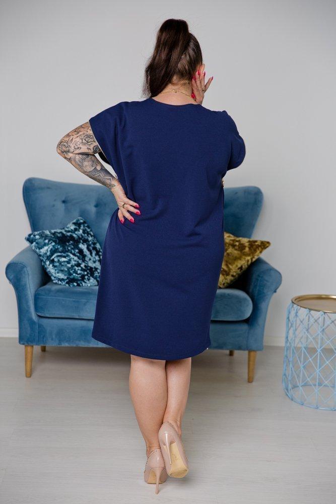 Granatowa Sukienka CARBONA Plus Size