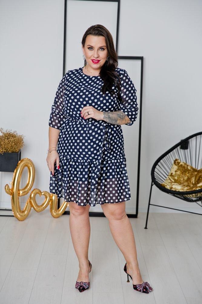 Granatowa Sukienka ESTI Plus Size Wzór 4