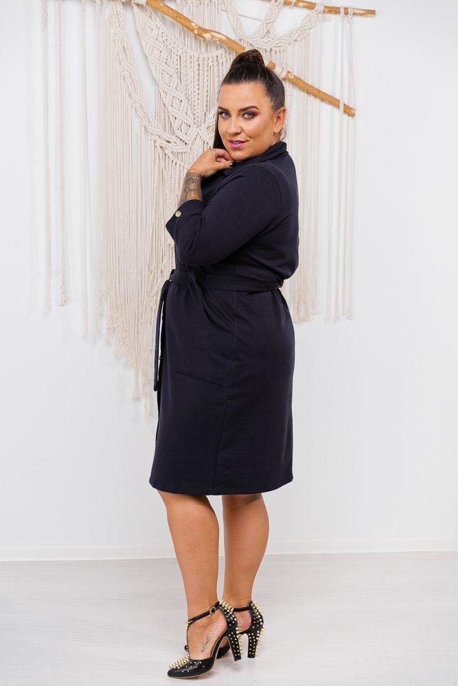 Granatowa Sukienka LINKA Plus Size