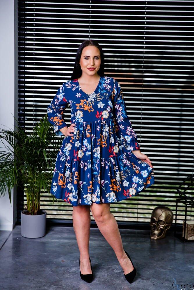 Granatowa Sukienka LIVELLA Kwiaty Plus Size
