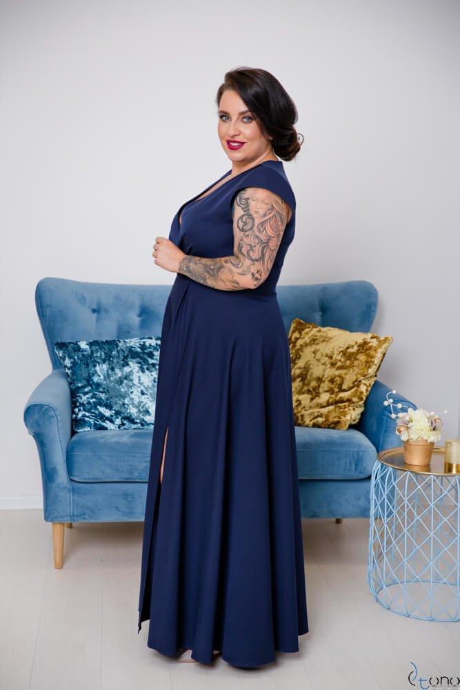 Granatowa Sukienka LOREDANA Plus Size
