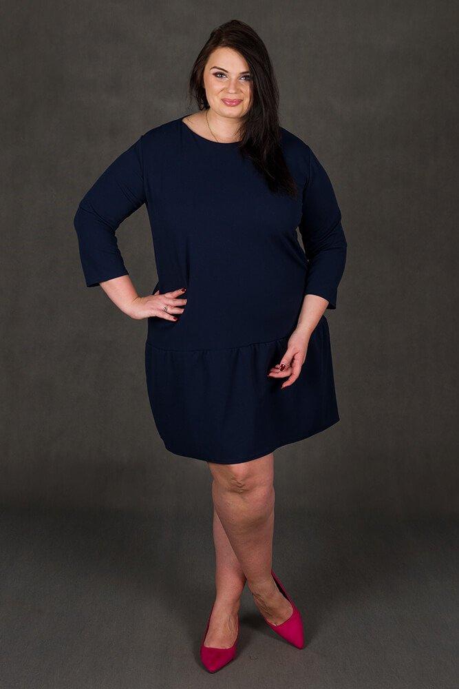 Granatowa Sukienka MARCELA Falbanka Duże rozmiary